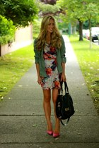 coral floral Anthropologie dress - hot pink pumps Aldo heels