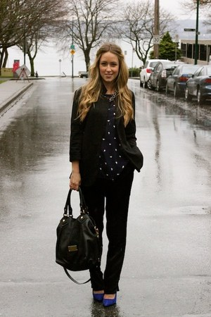 navy printed shopsosie shirt - black silk StyleMint pants