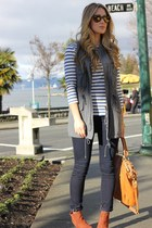 tawny madison lindsey coach bag - navy dark wash J Brand jeans