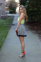 carrot orange sandals Tabio heels - chartreuse tank Topshop shirt