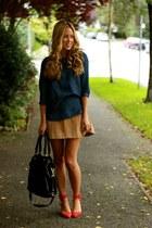 red suede Zara heels - blue denim Jcrew shirt