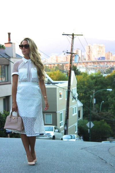 white lace Self Portrait dress
