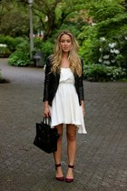 off white white Anine Bing dress - black leather Muubaa jacket