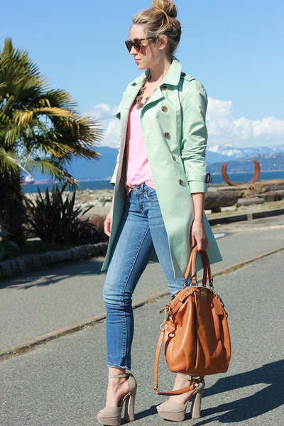 tan chloe Shoe Mint heels - aquamarine trench Queens Wardrobe jacket