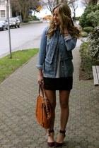 black leather All Saints skirt - crimson suede Zara heels