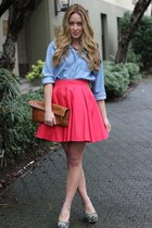 hot pink a line Blaque Label skirt - light brown clutch American Apparel bag
