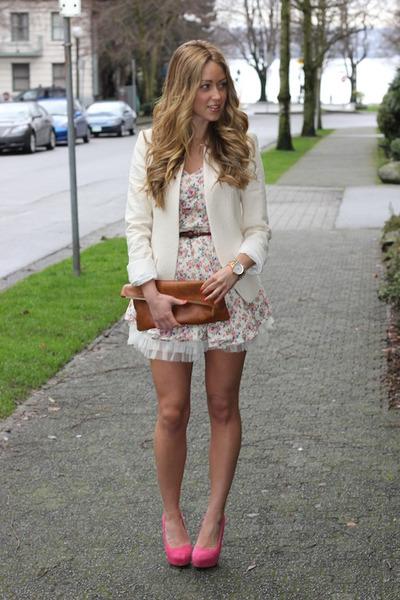 hot pink coco pumps Elizabeth Brady heels - pink floral Club Couture dress