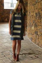 blue cotton J Crew dress - navy army wilfred vest