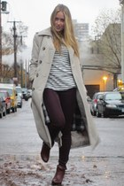 beige trench London Fog coat - navy striped Jcrew top