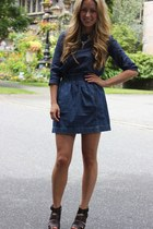 navy denim JCrew shirt - blue sparkle Lauren Elan necklace