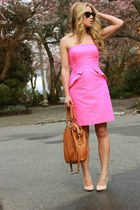 hot pink peplum JCrew dress - tawny madison lindsey coach bag