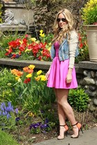 blue denim beginning boutique jacket - magenta cotton Forever 21 dress
