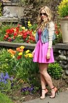 blue denim beginning boutique jacket - magenta cotton Forever 21 dress