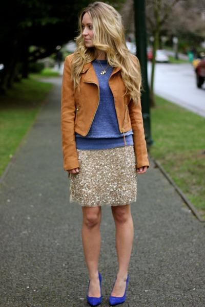 blue suede Zara heels - tawny suede H&M jacket