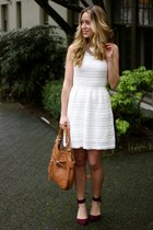 ivory knit American Eagle dress - bronze leather foley  corinna bag