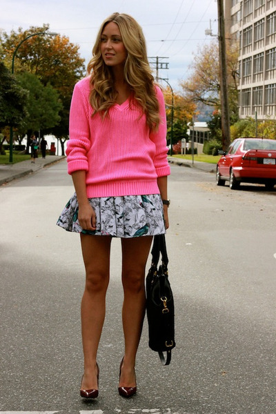 Hot Pink Knit Jcrew Sweaters Blue Floral Beginning