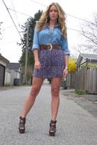 violet floral print American Eagle dress - blue jean Urban Outfitters shirt - da