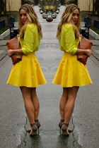 yellow button up Gap shirt - tawny clutch American Apparel bag