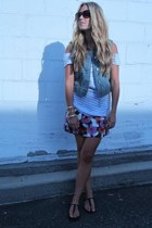 purple floral J Crew skirt - white cotton Roxy t-shirt - blue jean Gap vest