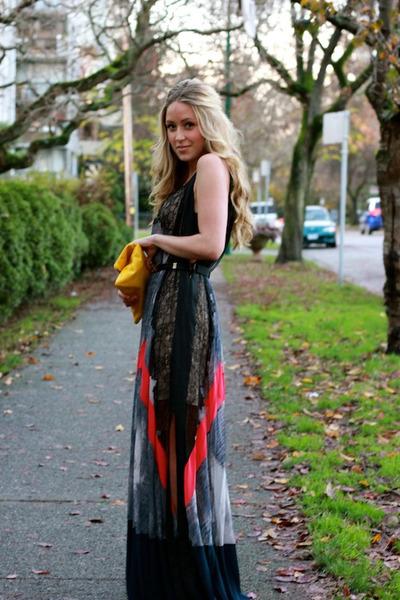 crimson maxi BCBG dress