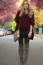 crimson knit Uniq sweater - black lace Lush skirt