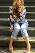 sky blue boyfriend American Eagle jeans - navy cotton Zadig&Voltaire shirt - pea