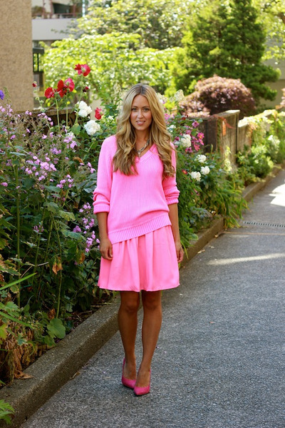 hot pink worn as skirt shop sosie dress - hot pink knit Jcrew sweater