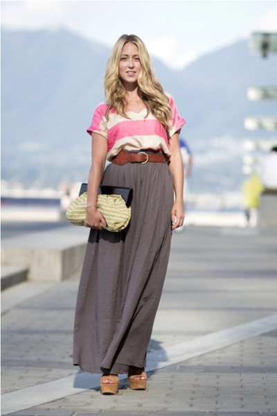 heather gray maxi Zara skirt - hot pink striped Zara shirt