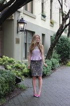 light purple pencil no 2 JCrew skirt - amethyst teygan Bebe heels