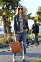 tawny leather coach bag - dark gray leather Muubaa jacket