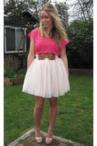 hot pink bright Roxy shirt - neutral for kohls Lauren Conrad heels - light pink