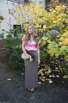 heather gray maxi BB Dakota skirt - bubble gum striped Zara shirt
