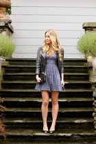 navy floral Jack by BB Dakota dress - dark gray leather Muubaa jacket