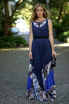 navy maxi BCBGMAXAZRIA dress