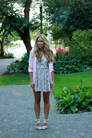 light pink blazer Zara blazer - pink floral Club Couture dress