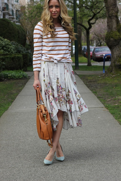 ivory floral free people dress - bronze coach bag - periwinkle denim asos heels