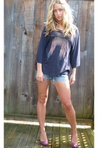 black raglan Wildfox shirt - blue jean American Eagle shorts - purple suede Aldo