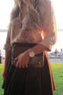 Camel-silk-zara-shirt-black-cotton-blaque-label-skirt