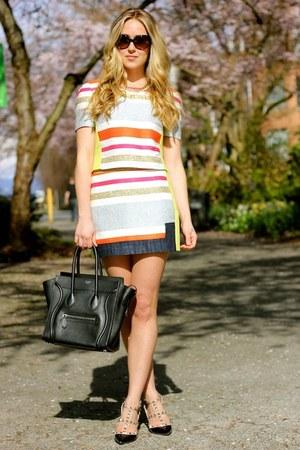red stripe BCBG skirt - black rockstud Valentino heels