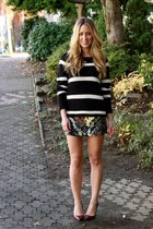 black striped volcom sweater - bronze sequin All Saints skirt