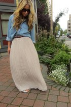 neutral silk Club Monaco skirt - periwinkle chambray Urban Outfitters top