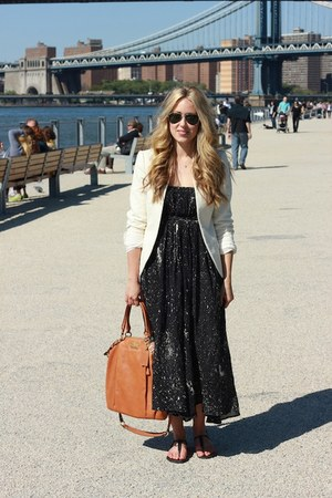black maxi funktional dress - eggshell cotton Zara blazer