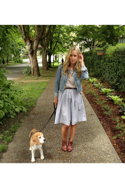 brown leather Aldo boots - periwinkle worn as skirt American Eagle dress - sky b