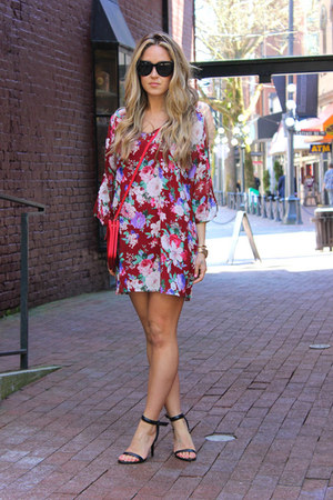 ruby red floral beginning boutique dress