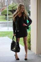 black rufflesched T By Alexander Wang dress - black leather Muubaa jacket
