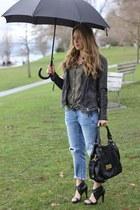 black bessie Pour La Victoire heels - dark gray leather Muubaa jacket