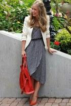 blue floral Nordstroms dress - tawny suede Aldo heels