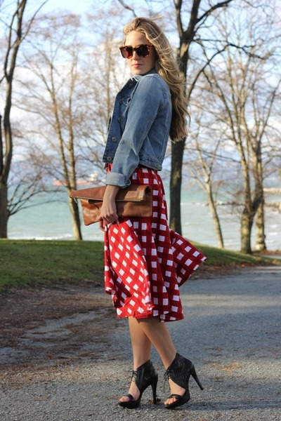 red checkered American ApparelSOS skirt - black sandals Pour La Victoire heels