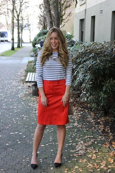 red pencil JCrew skirt - navy striped style2bb3 Mint shirt
