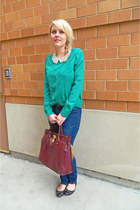 teal madewell shirt - white Dorothy Perkins shirt - Express jeans